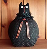 Halloween Decorations - Roly Poly Black Cat - Plush Halloween Decoration - Made in America