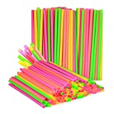 (180-Pack) Large Milkshake / Smoothie / Slush Straws, Disposable Jumbo Extra Wide Thick Shake Long Plastic Drinking Straw, Assorted Colors, 9""