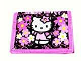 Black and Pink Flower Hello Kitty Tri Fold Wallet - Hello Kitty Wallet