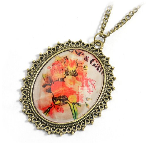 Rosallini Lady Flower Print Inside Beaded Hem Ellipse Pendant Sweater Necklace