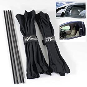UV Protection Shield Window Mesh Interlock Curtain VIP Black Slidable 50cm Pair