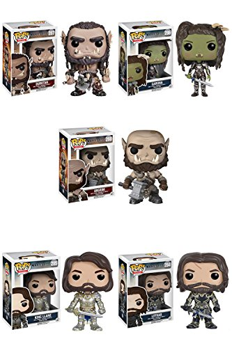 Warcraft Lothar, King Llane, Durotan, Garona, Orgrim Pop! Vinyl Figures Set of 5