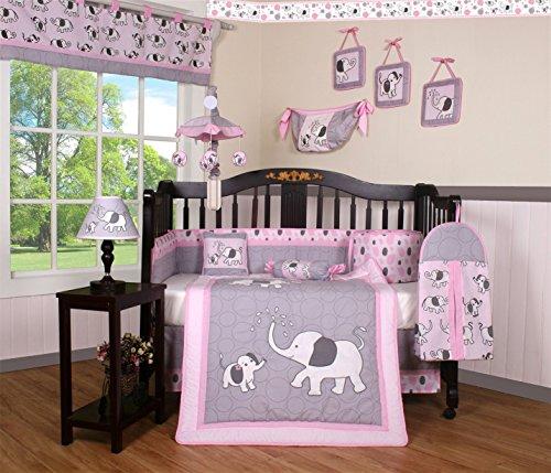 Boutique Pink Gray Elephant 13pcs Crib Bedding Sets