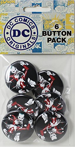 Button set DC Comics Batman Joker with Harley Quinn 6 Individual Loose Buttons, 1.25""