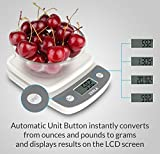 Digital Kitchen Scale by Zerla - Versatile Food Scale - Weigh Snacks, Liquids, & Foods - Accurate Weight Scale within .05 oz. - Great for Adkins Diet, Weight Loss Programs & Portion Control