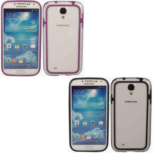 2 Pack Bumper Schale Fall Decken Für Samsung Galaxy S4 i9500 / Clear Black And Clear Dark Purple
