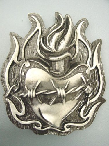 Buy Heavy Metal Flaming Sacred Heart Belt Buckle, Tattoo style Sacred Heart