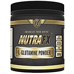 NutraFX L-Glutamine Powder 5000mg Per Serving - 60 Servings - Best Bodybuilding Supplements for Workout Recovery - Muscle Growth - Pre Workout - During - Post Workout Formula - Clump-free Powder