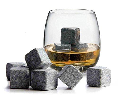Gearmax® Set Di 9 Pietre Whisky Chilling Rocks 100% Pure Soapstone, Cubetti Rinfrescanti Per Whisky, Con Di Velluto Nero In Carrying Pouch