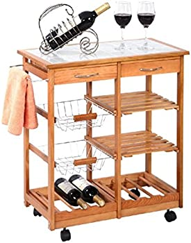 Rolling Wood Kitchen Trolley Car w/Drawers Stand