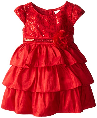 Youngland Little Girls' Tiered Lace Occasion Dress, Red, 2T