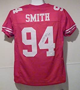 Justin Smith Autographed San Francisco 49ers red size XL jersey w JSA by DenverAutographs