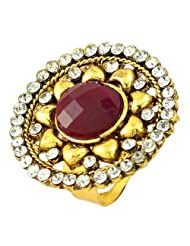 Round Shape Gold Plated Ruby Simulated Stone Cz Rings Jewelry