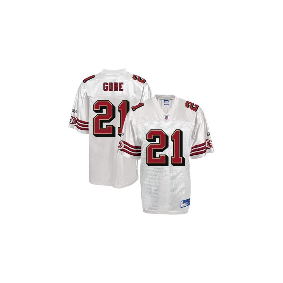 62b6e8ed5 Reebok NFL Equipment San Francisco 49ers  21 Frank Gore Youth White Replica Football  Jersey