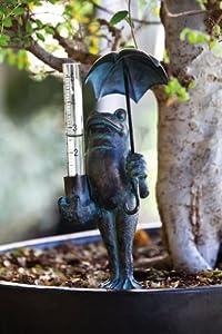 """Weathered Frog & Umbrella Decorative Outdoor and Garden Rain Gauge 18"""""""