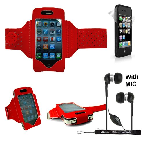 Extreme Sports Exercise Stretchy Red Armband With 8 Secure Adjustable Sizes From 11 Inches Up To 19 For Apple Iphone 4 , 4Th Generation, 4Th Gen Compatible With 16Gb / 32Gb - Hd Print + 4-Inch Ebigvalue (Tm) Determination Hand Strap Key Chain + Includes A