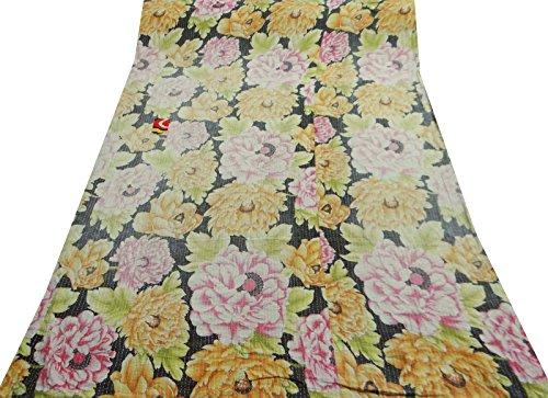 colcha tradicional estilo kantha estilo puro algodón hoja de cama de tamaño 82