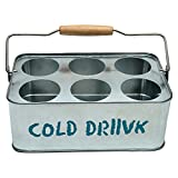 cold drink serving tray for 6 glasses silver