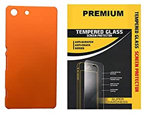 XUWAP Hard Case Cover With Unbreakable Tempered Glass For Sony Xperia M5 - Orange