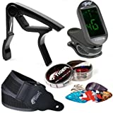 Guitar Accessory Pack - Guitar Picks, Strap, Tuner and Capo