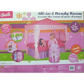 BARBIE All In One Ready Room BEDROOM SET: Includes Bed Canopy & Headboard & Hamper