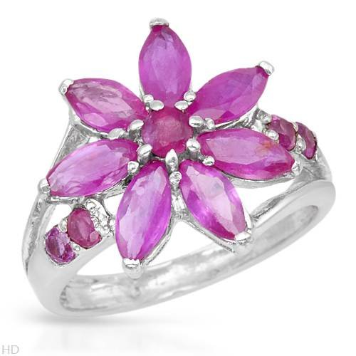 Ring With 3.25ctw Genuine Rubies 925 Sterling silver (Size 8)