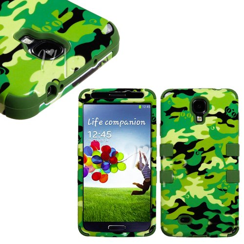 """Mylife (Tm) Green - Forest Animal Camouflage Design (3 Piece Hybrid) Hard And Soft Case For The Samsung Galaxy S4 """"Fits Models: I9500, I9505, Sph-L720, Galaxy S Iv, Sgh-I337, Sch-I545, Sgh-M919, Sch-R970 And Galaxy S4 Lte-A Touch Phone"""" (Fitted Front And"""