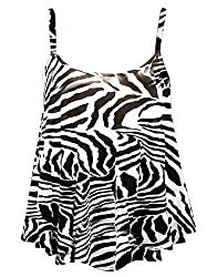 F4u® Ladies Womens Plus Size Printed Sleeveless Swing Vest Strappy Flared Cami Tops Dresses 8-26