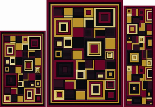 Home Dynamix Ariana Collection 7543-200 3-Piece Ultra Soft & Super Durable Area Rug Set, Red