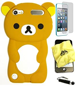 BUKIT CELL (TM) BROWN Bear 3D Cartoon Soft Silicone Skin Case Cover for IPOD TOUCH 5 5G 5TH GENERATION + BUKIT CELL Trademark Lint Cleaning Cloth + Screen Protector + WirelessGeeks247 METALLIC Touch Screen STYLUS PEN with Anti Dust Plug