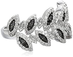 Sterling Silver Leaves Black and White Diamond Ring (1/2 cttw, I-J Color, I2-I3 Clarity), Size 7 from JPI