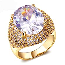 buy Beydodo 18K Gold Plated Women'S Ring (Promise Ring) Cz Round Shaped Size 7 Gold