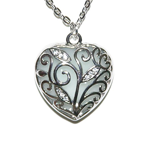 [Lifetime Steampunk Glow in the Dark Necklace Heart Pendant] (Punk Fairy Costumes)