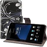 kwmobile Wallet Case Hülle für Sony Xperia Z1 Compact - Cover Flip Tasche in Blumen-Design mit Kartenfach und Ständerfunktion in Schwarz Weiß
