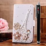 M LV Samsung Galaxy Star Pro GT-S7262 Leather Diamond Bling crystal Folio Support Smart Case Cover With Card Holder & Magnetic Flip Horizontals - Eiffel Tower Flower
