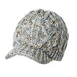 ゴルフ ウール おしゃれ 手編み 防寒 ニット ベレー 帽子 キャスケット ニット帽 レディース  秋冬 キャップ つば付き 小顔 グレー