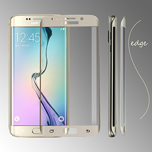 Plus Full Cover Curved Side Tempered Glass Screen Protector 0.2MM 9H 2.5D Explosion Proof For Samsung Galaxy S6 Edge - Gold