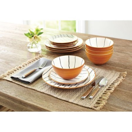 Better Homes and Gardens 12-Piece Sabin Striped Dinnerware Set, Set of 2