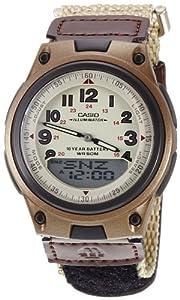 Casio Men's AW80V-5BV Brown Nylon Quartz Watch with Beige Dial