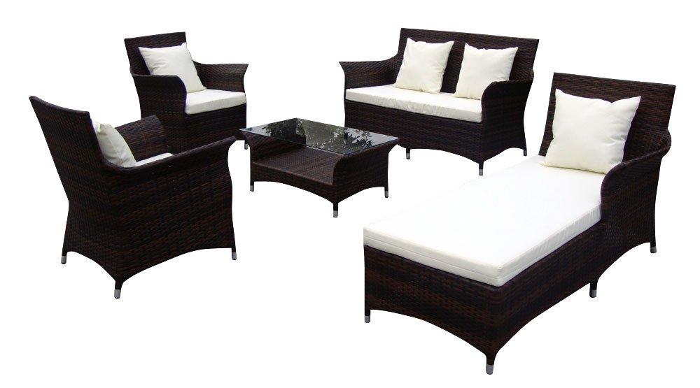 Baidani Gartenmöbel-Sets 10c00037.00002 Designer Lounge-Garnitur Royalty, 2-er-Sofa, 1 Chaiselongue, 2 Sessel, 1 Couch-Tisch Glasplatte, Sitzauflagen, braun