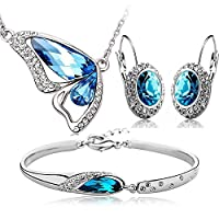 Valentine Gift By Shining Diva Silver Platinum Plated Austrian Crystal Pendant Earring Set With Bracelet For Women & Girls