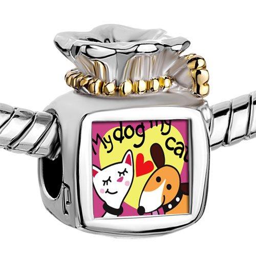 Pugster Two Tone Money Bag My Dog Loves My Cat photo Beads Fits Pandora Charm Chamilia Biagi Bracelet