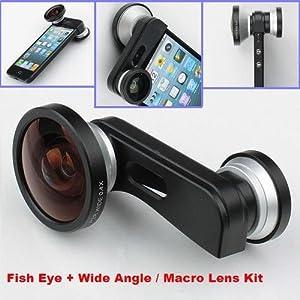 Fish Eye Lens+Super Wide Angle Lens+Macro Lens 3-in-1 Kit for Apple iPhone 5
