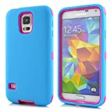 Queens® Silicone Shockproof Case Cover for Samsung Galaxy S5 I9600- Three Layer (3 in 1)hard Plastic Pc and Soft Silicone Hybrid Defender Shockproof Robot Hybrid Case Cover for Samsung Galaxy S5 I9600 with Clearly Screen Protecotor (7-blue/hot Pink Queens® Silicone Shockproof Case Cover for Samsung Galaxy S5 I9600)