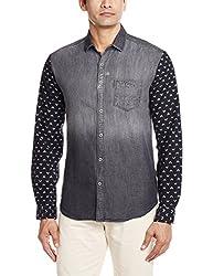 Locomotive Men's Casual Shirt (15110001455762_LMSH010355_Medium_Black Denim)