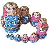 マトリョーシカ人形 10個組 置物 ロシア民芸 水色×ピンク M010 【ノーブランド品】