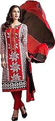 Sanvan Red & Black Printed Cotton Salwar Suit Dress Material_SV246SF