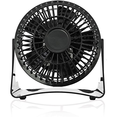 Brentwood 4 Inch Wide Oscillation 5 Blade Portable Adjustable Personal Desk Fan, Black
