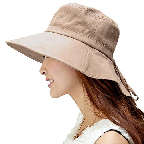 Siggi Womens Summer Flap Cover Cap Cotton UPF 50+ Sun Shade Hat with Neck Cord Wide Brim Khaki (Womens Sun Shades compare prices)