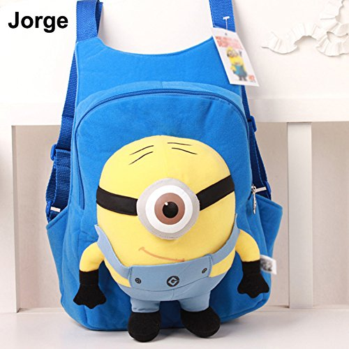 Cute Fashion Baby Kid Toddler Infant Child Nursery Boy Girl Despicable Me Minion Jorge Stewart Monsters Cosplay Cartoon Backpack Shoulder Book School Bag Schoolbag Plush Doll Toy 3D Eye Dave Xmas Gift (Blue Jorge) front-1027208